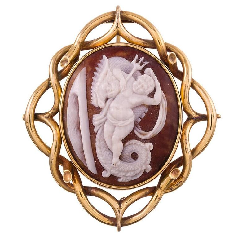 Neptune and Sea Dragon Shell Cameo Brooch