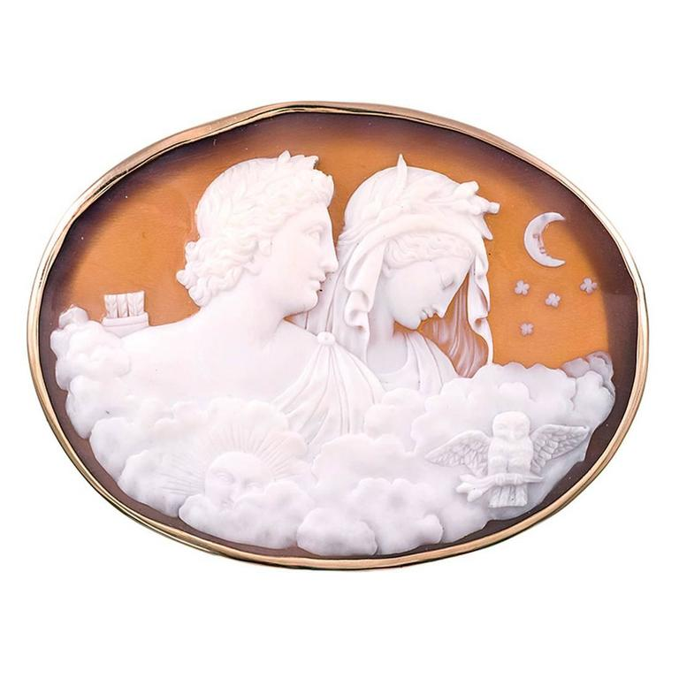 Day To Night Lovers Shell Cameo At 1stdibs