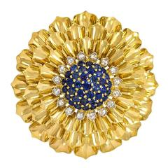 1950s Tiffany Gold, Sapphire, and Diamond Flower Brooch