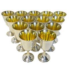 Sterling Silver Set Of 14 Goblets