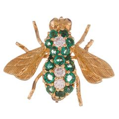Emerald and Diamond Bee Pin, Signed Henry Rosenthal