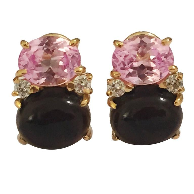 Medium GUM DROP™ Earrings with Pink and Cabochon Smokey Topaz and Diamonds 1