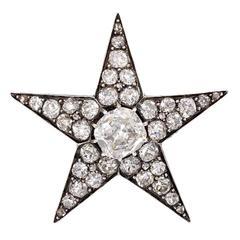 Antique Diamond Silver Gold Star Brooch