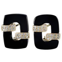 Onyx Diamond Gold Ear Clips
