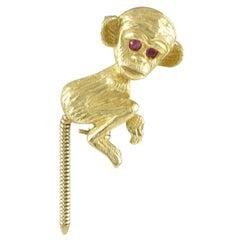 Adorable Gold Monkey Lapel Pin
