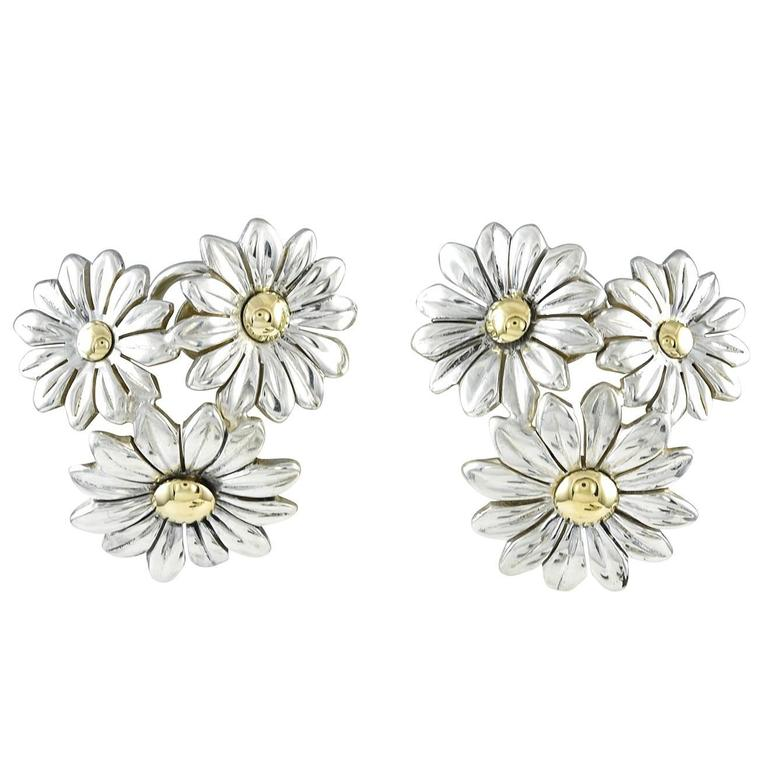 Gucci Sterling Gold Flower Cluster Ear Clips
