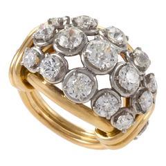 1940s Van Cleef & Arpels Diamond Gold Platinum Bombé Ring