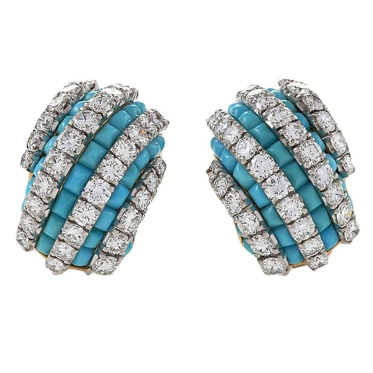 Van Cleef & Arpels Mid-20th Century Turquoise Diamond Gold Platinum Earrings 1