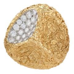 Van Cleef & Arpels 1970s Diamond Gold Modernist Brooch