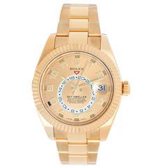 Rolex Yellow Gold Sky-Dweller Annual Calendar GMT Automatic Wristwatch Ref 32693