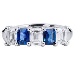 Blue Sapphire Platinum Diamond Half Shank Band Ring