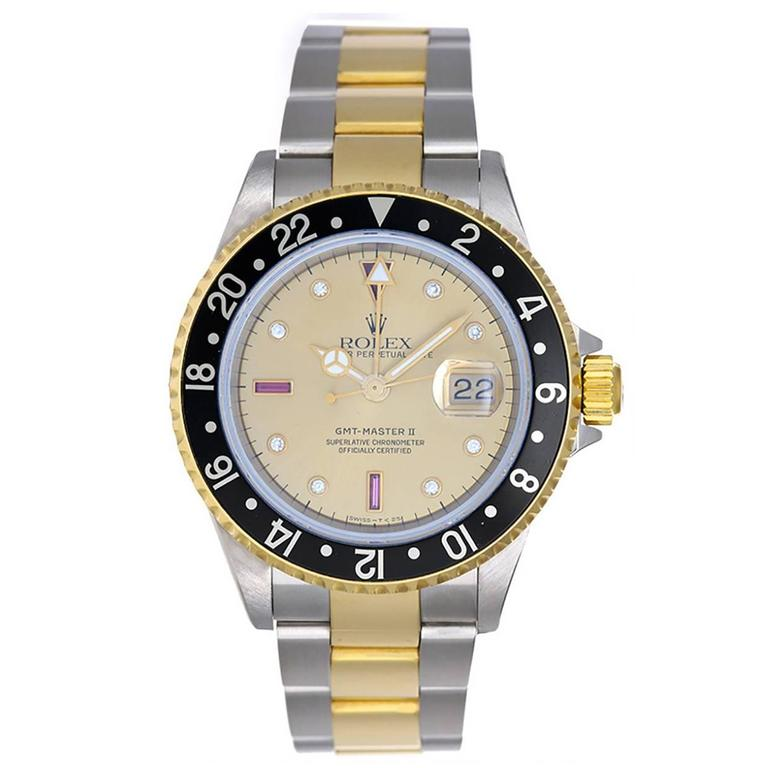 Rolex Yellow Gold Stainless Steel GMT Master II Automatic Wristwatch Ref 16713