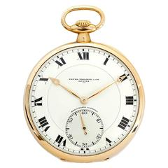 Patek Philippe Yellow Gold Relojoaria Gondolo Open Faced Pocket Watch