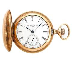 Elgin Yellow Gold Plated Hunting Case Pocket or Pendant Watch
