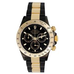 Rolex Yellow Gold Daytona Custom Black PVD Automatic Wristwatch Ref 116523