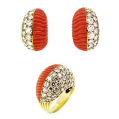 1960s Cartier Coral Diamond Gold Ring and Earrings