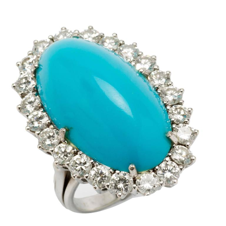 1950s Turquoise Diamond Gold Cocktail Ring