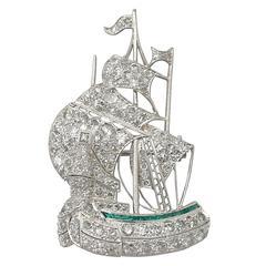 Antique 2.65 Carat Diamond and Emerald Platinum Ship Brooch