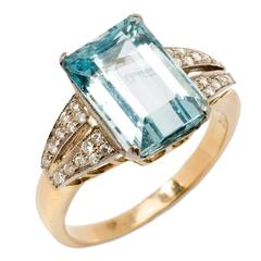 1930s Aquamarine Diamond Gold Cocktail Ring