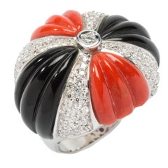 Coral Onyx Diamond Dome Ring