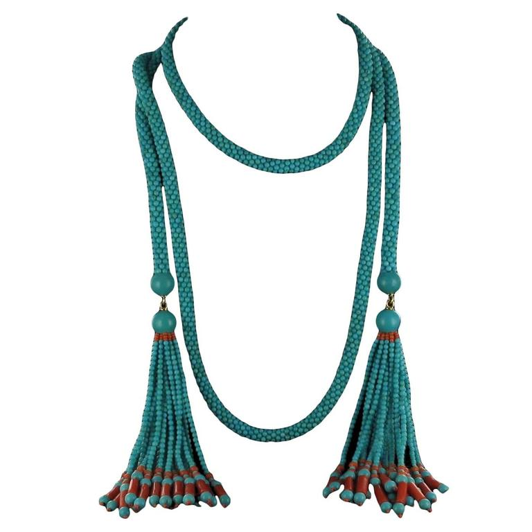 French Turquoise Coral Sautoir Necklace For Sale