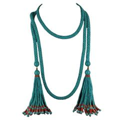 French Turquoise Coral Sautoir Necklace