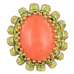 1960s Coral Green Enamel 18 Karat Yellow Gold Cocktail Ring