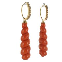 French Antique Coral Natural Pearl Gold Dangle Earrings