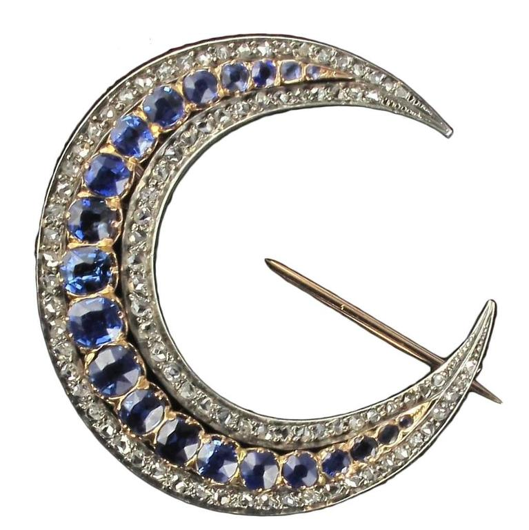 French Antique Crescent Moon Sapphire Diamond Brooch