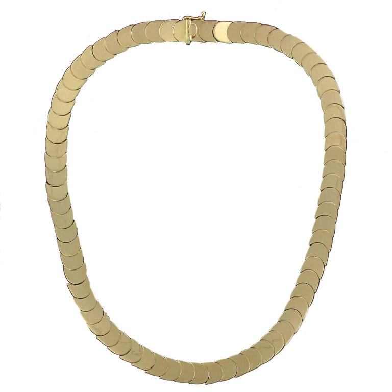 1960s Retro 18 Karats Yellow Gold Articulated Scale Necklace