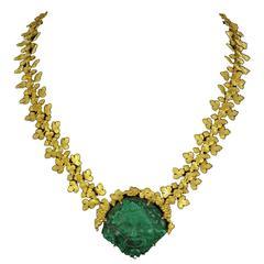 French Empire Malachite Cameo Gold Necklace