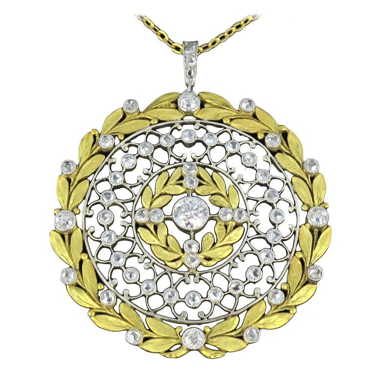 French Rose Cut Diamond Gold Platinum Pendant