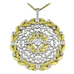 French Rose Cut Diamond Gold Platinum Pendant