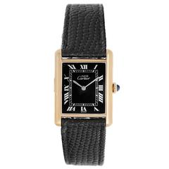 Cartier Vermeil Must de Cartier Black Dial Quartz Wristwatch