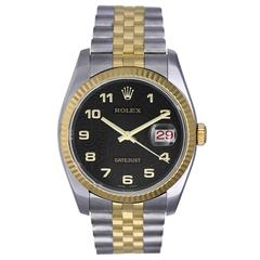 Rolex Yellow Gold Stainless Steel Black Arabic Dial Automatic Wristwatch