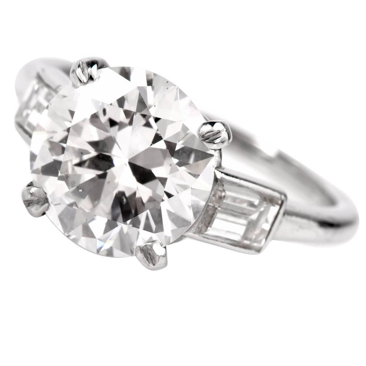 Cartier Diamond Platinum Solitaire Engagement Ring For Sale at 1stdibs