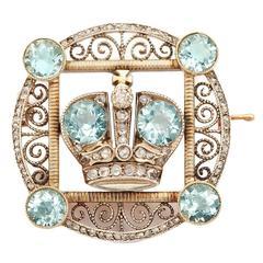 Faberge Aquamarine Diamond Gold Imperial Presentation Brooch