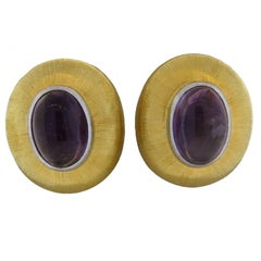 Large Buccellati Amethyst Cabochon Gold Earrings