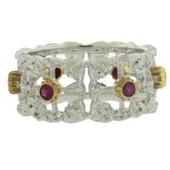 Buccellati Ruby Gold Wide Wedding Band Ring