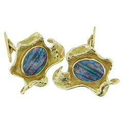 Hand Made Avant Garde Triplet Opal Gold Cufflinks