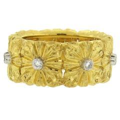 Buccellati Gold Diamond Floral Wedding Band Ring