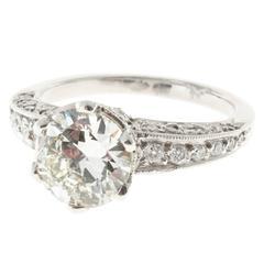Transitional Cut Diamond Platinum Engagement Ring