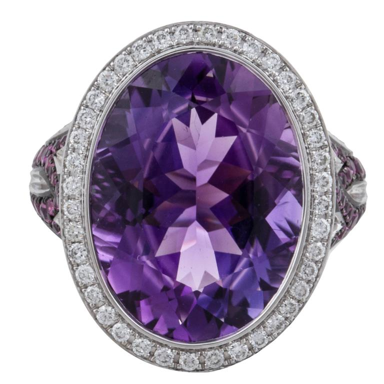 Asprey Amethyst Diamond Gold Ring For Sale