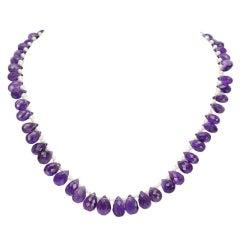 Stunning Briolette Gem Amethyst Pearl Gold Necklace Estate Fine Jewelry