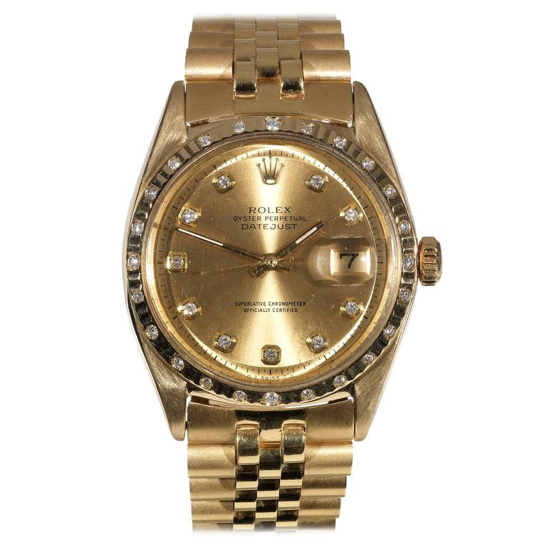 Rolex Yellow Gold Diamond Oyster Perpetual Datejust ...