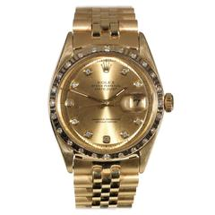 Rolex Yellow Gold Diamond Oyster Perpetual Datejust Wristwatch Ref 1601