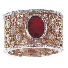 Buccellati Ruby Diamond Gold Band Ring