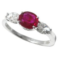 Ruby Diamond Gold Three Stone Ring
