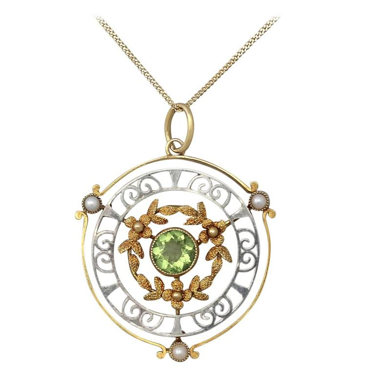 0 85ct Peridot And Pearl 15k Yellow Gold And 15k White