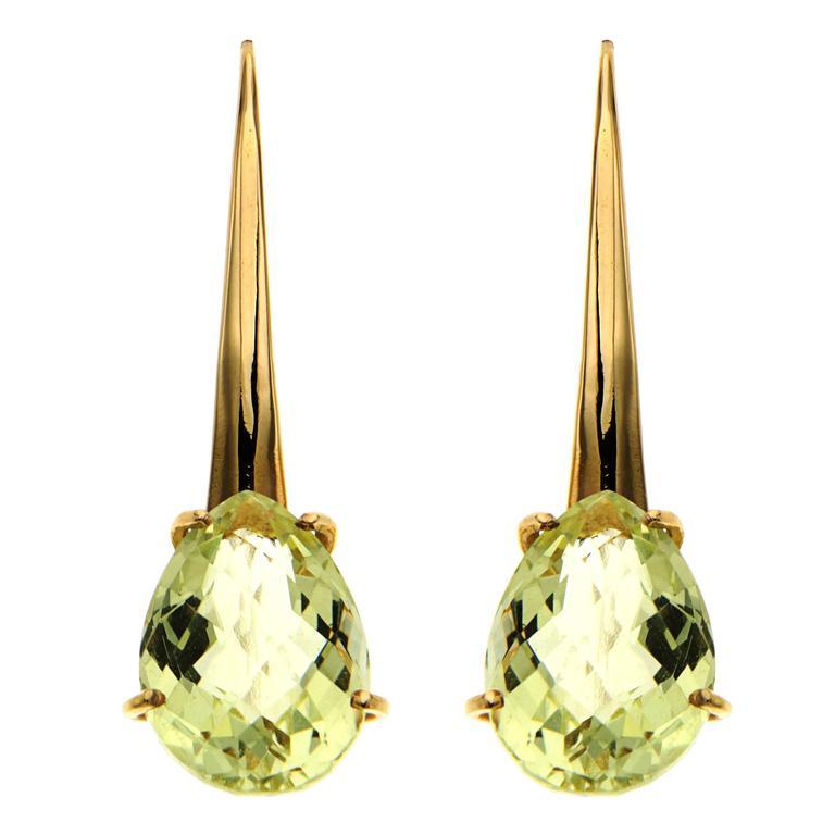 Yellow Topaz Rose Gold Dangle Earrings Modern